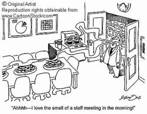 What happens at staff meetings?